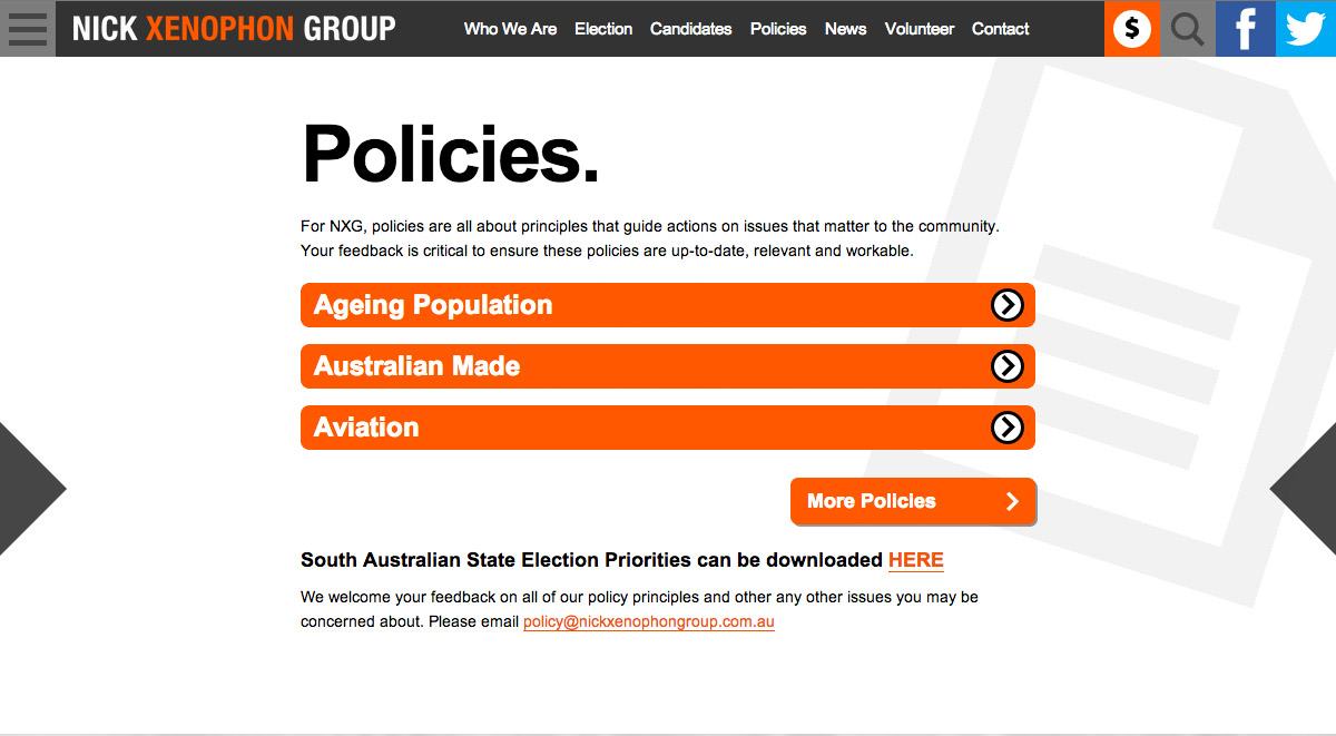 Nick Xenophon Group - Policies